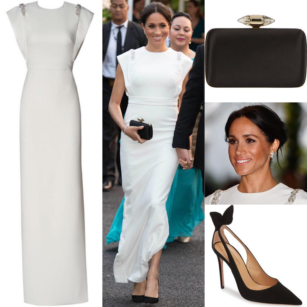 Vestido THEIACouture, sapatos AQUAZZURA e bolsa GIVENCHY (Foto: Instagram/@meghanmarkle_fashion)