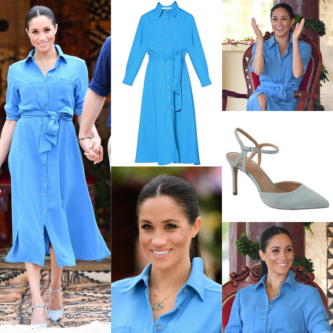 Vestido Veronica Beard e sapatosBanana Republic (Foto: Instagram/@meghanmarkle_fashion)