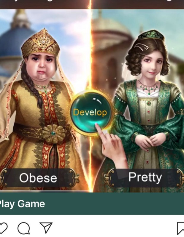 Na propaganda do game, havia o uso da imagem de uma personagem de 'Game of Sultans' descrita como 'gorda' (Foto: Instagram/@ddlovato)