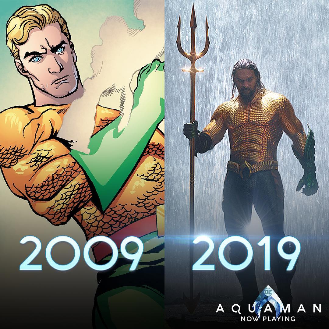 Design original do personagem comparado com o atual (Foto: Instagram/@aquamanmovie)