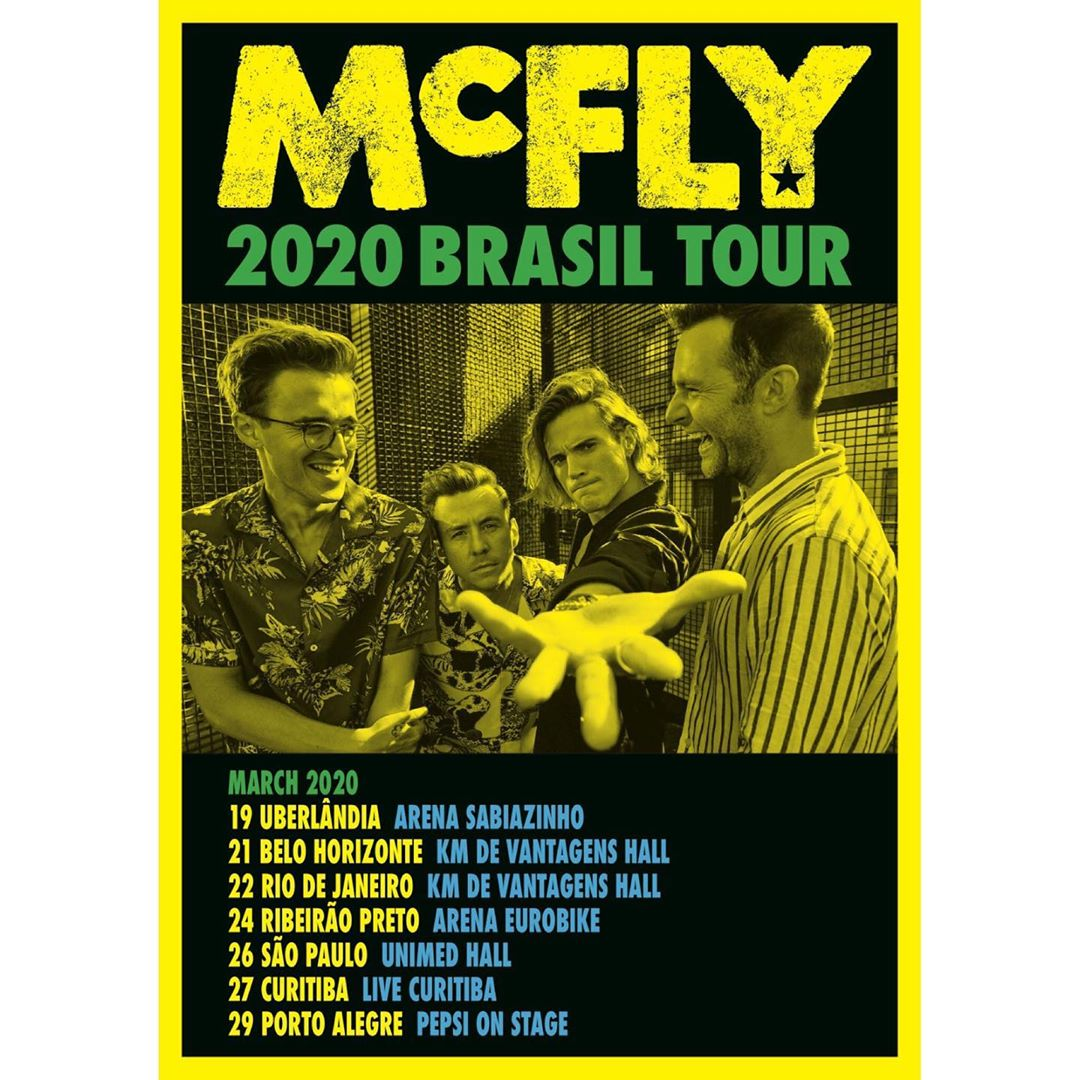 Agenda oficial do McFly no Brasil. (Foto: Instagram/@mcflymusic)