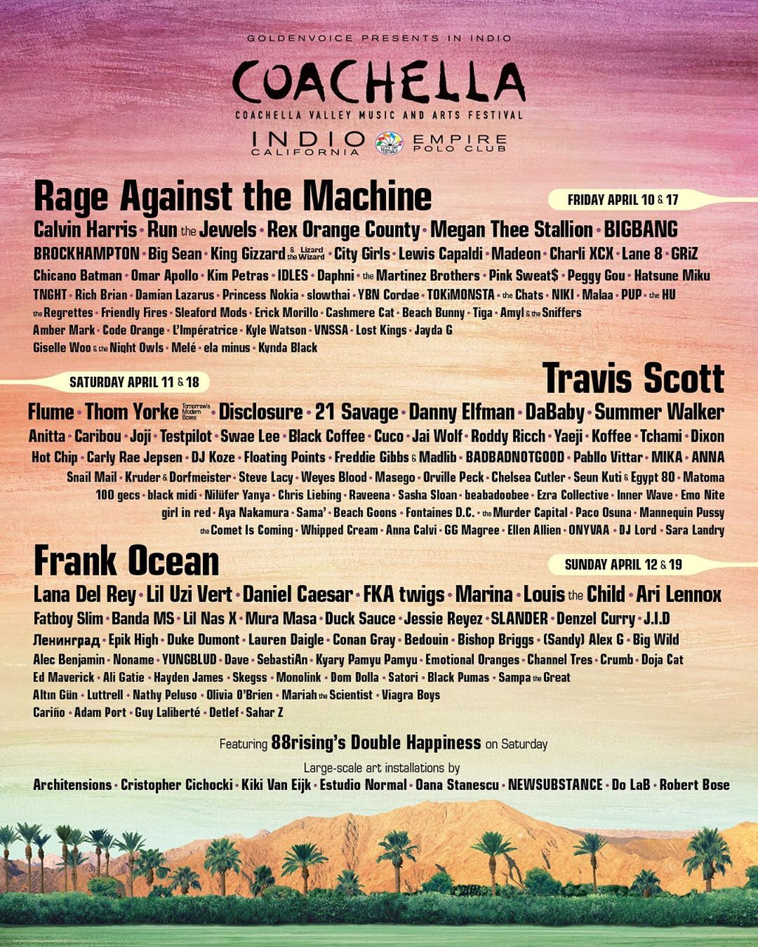 Line-up do festival Coachella 2020. (Foto: Instagram/@coachella)