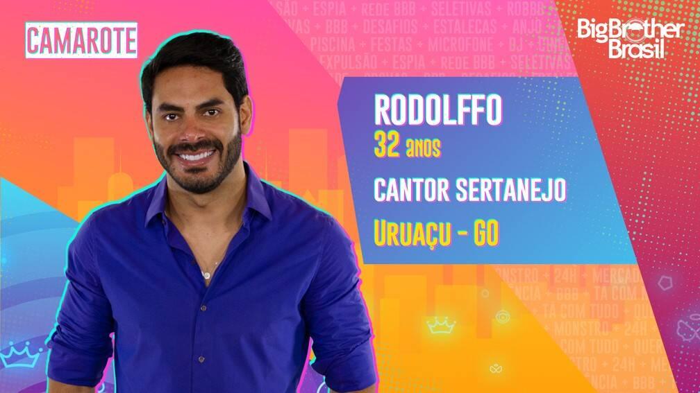 """Rodolffo - Cantor sertanejo, 32 anos, natural de Uruaçu, Goiás. Rodolffo é parceiro de Israel em uma dupla sertaneja que começou quando eles tinham 7 anos de idade. Com 25 anos de carreira, acumula vários discos lançados e fãs espalhados por todo o Brasil. Ele é do grupo Camarote e é ex-marido de Rafa Kalimann, que ficou em 2º lugar no """"BBB20"""". (Foto: Globo)"""