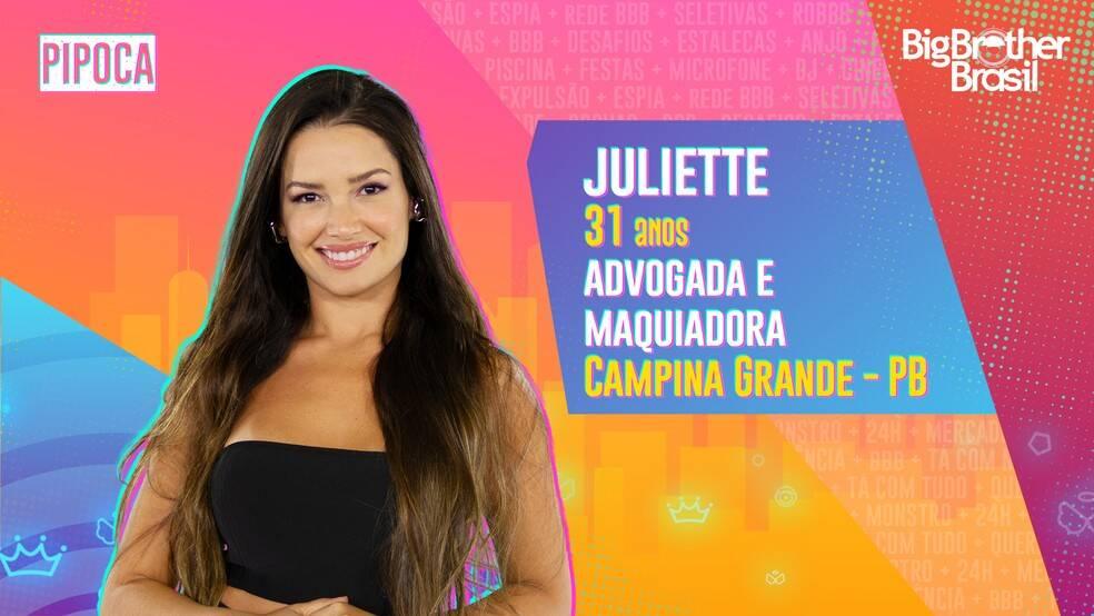 Juliette - Advogada, de 31 anos, Juliette estuda para realizar o sonho de tornar-se delegada. Enquanto isso, a paraibana se sustenta como maquiadora, um hobby que virou profissão. Ela é do grupo Pipoca. (Foto: Globo)