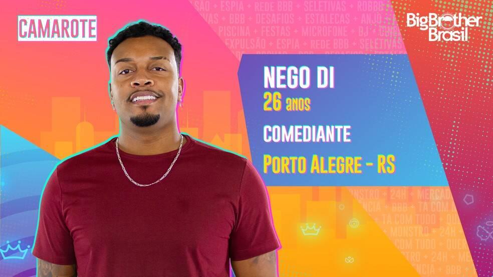 Nego Di - Comediante, Nego Di tem 26 anos. Sua carreira começou com uma brincadeira em aplicativo de troca de mensagens. O gaúcho foi pioneiro nesse tipo de criação de conteúdo classificado como WhatsApper. Ele é do grupo Camarote. (Foto: Globo)