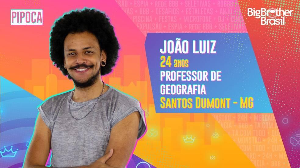 João Luiz - Morador de Minas Gerais, João Luiz, de 24 anos, é professor de geografia e dá aulas para alunos de 14 a 17 anos em uma escola do Estado. Ele é do grupo Pipoca. (Foto: Globo)