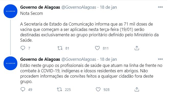 No entanto, o perfil do Governo de Alagoas negou que tenha feito o convite. (Foto: Reprodução/ Twitter)