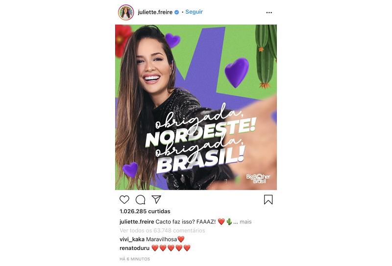 Confira o momento em que a sister do BBB 21 atingiu o recorde mundial. (Foto: Instagram/ @juliette.freire)
