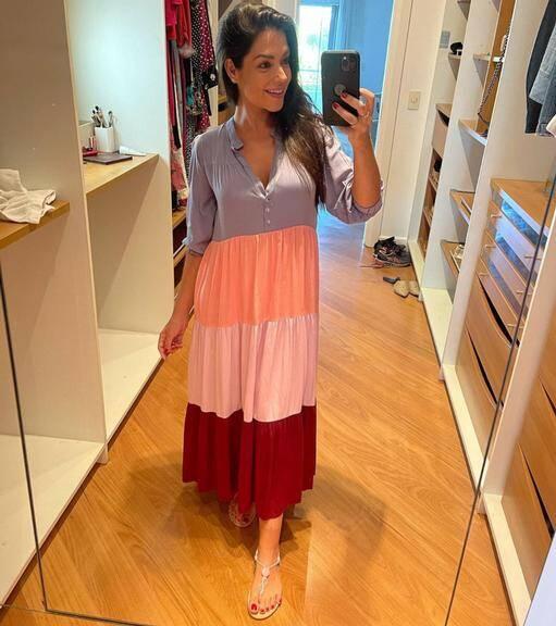 Thaís Fersoza é uma das adeptas dos vestidos longos e fresquinhos. (Foto: Instagram/ @tatafersoza)