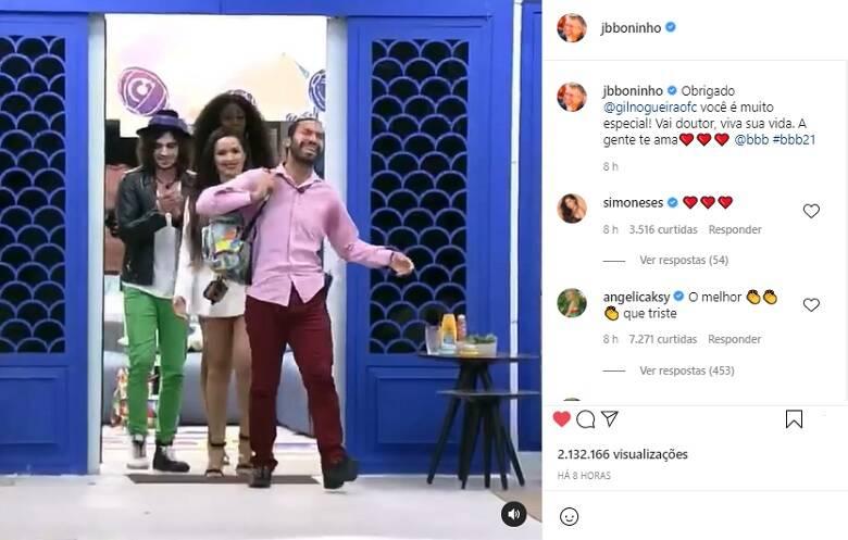 Boninho publicou um vídeo do momento da saída do brother e agradeceu a participação de Gil no BBB 21. (Foto: Reprodução/ Globo)