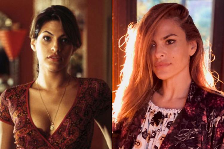 """Eva Mendes - 2001 vs 2021 - A estrela dos filmes """"Hitch"""" e """"O Motoqueiro Fantasma"""" completou 47 anos em 2021. (Foto: Divulgação)"""
