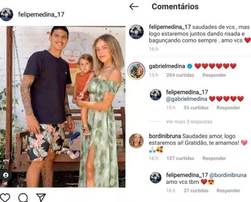 Nas redes sociais, gabriel Medina presta apoio ao irmão, Felipe. (Foto: Instagram)