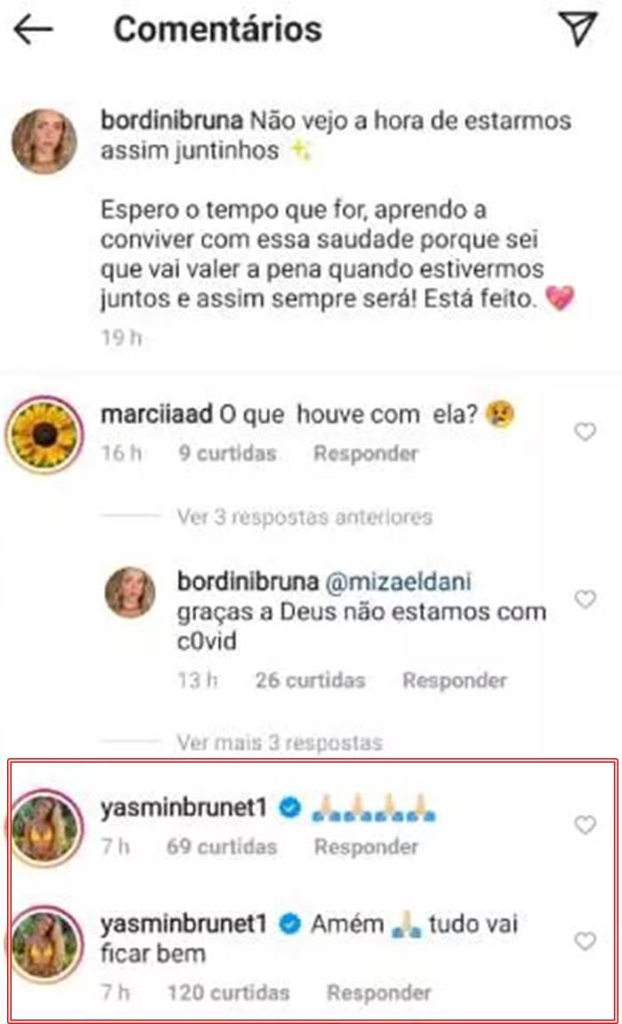 Yasmin Brunet também demonstrou apoio a concunhada, Bruna Bordini. (Foto: Instagram)