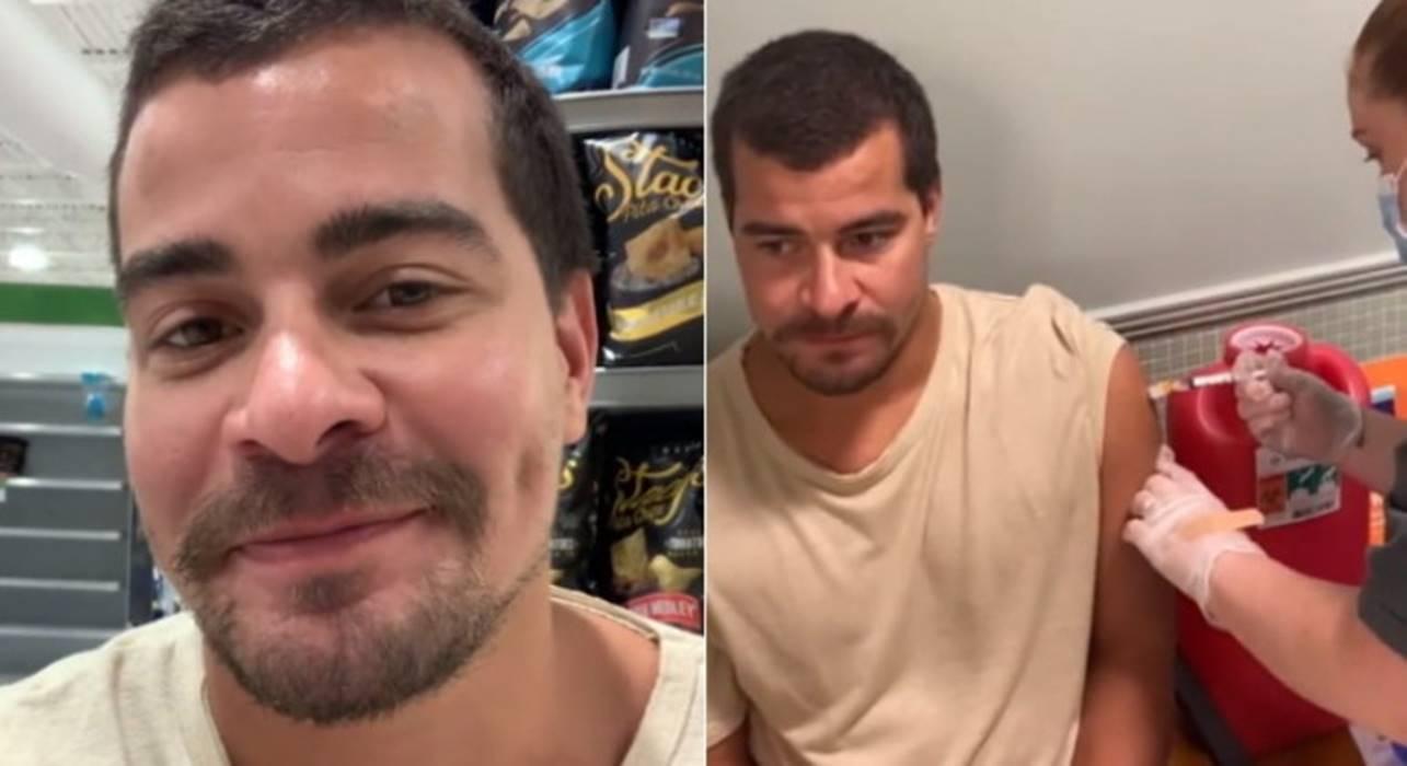 O ator e cantor Thiago Martins, 32 anos, foi vacinado contra a covid-19 em Orlando, nos Estados Unidos. Ele revelou que foi ao país por conta de um trabalho e teve a oportunidade de tomar o imunizante. (Foto: Instagram)