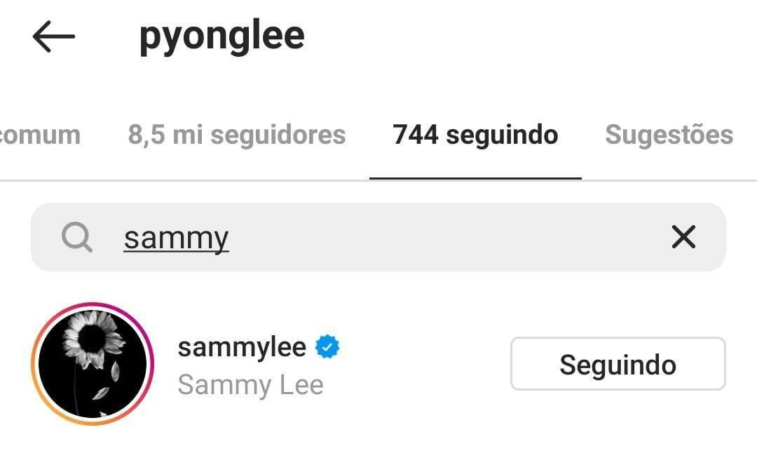 Pyong ainda segue Sammy. (Foto: Instagram)