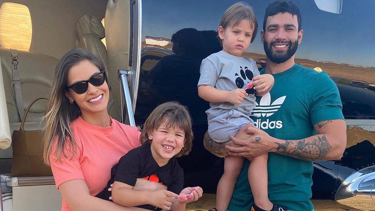 Andressa Suita e Gusttavo Lima comemoraram o aniversário de 3 anos do filho caçula, Samuel, com uma festinha de luxo no iate do cantor na manhã deste sábado (24). (Foto: Instagram)