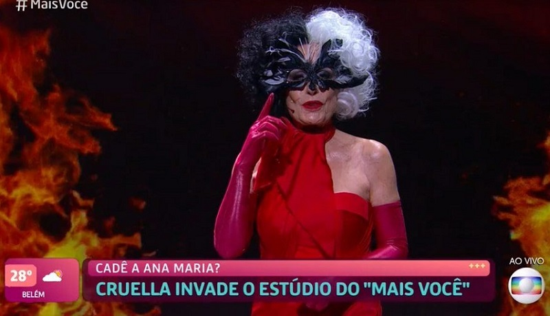 """""""Esse meu look é arrasador e dedicado à ela: Cruella. Uma das personagens mais icônicas da Disney"""", declarou Ana Maria Braga. (Foto: Globo)"""