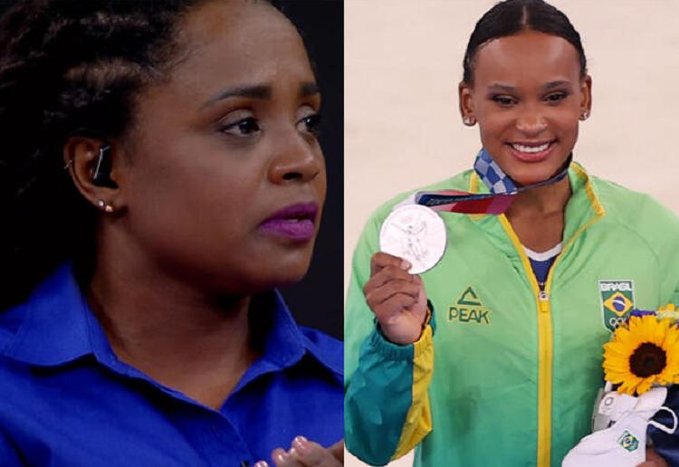 A ex-ginasta Daiane dos Santos se emocionou com a vitória de Rebeca Andrade nos Jogos Olímpicos de Tóquio. (Foto: Globo)