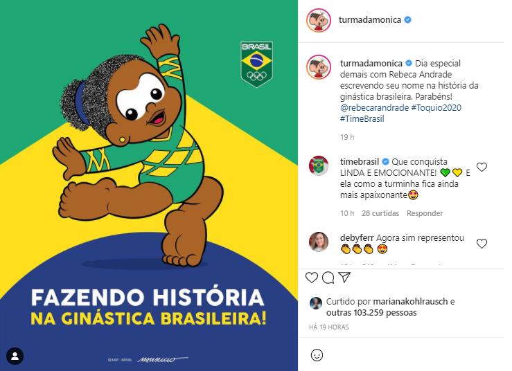 A ginasta inspirou uma arte nas redes sociais da Turma da Mônica, em que a personagem Milena segue os seus passos. (Foto: Instagram)-rebeca