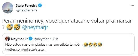 Ítalo Ferreira entra na briga com Neymar por Juliette (Foto: Twitter)
