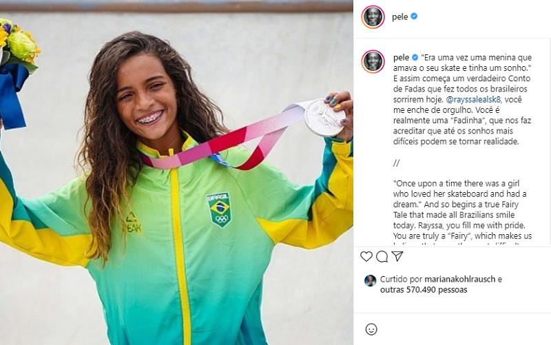 A skatista de 13 anos, fez história ao subir no pódio nos Jogos de Olímpicos de Tóquio. (Foto: Instagram)