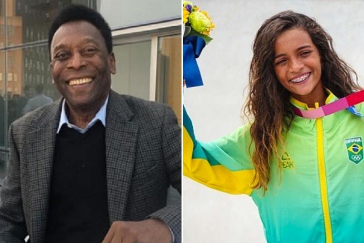 Pelé homenageou a 'fadinha' Rayssa Leal após a conquista da medalha de prata nos Jogos Olímpicos. (Foto: Instagram)