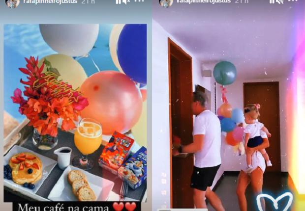O empresário fez duas surpresas para a herdeira: um café da manhã caprichado e uma festinha intimista. (Foto: Instagram)