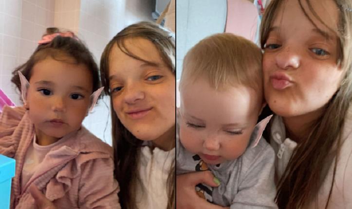 A menina de 11 anos não poupa cliques divertidos com as pequenas. (Foto: Instagram)