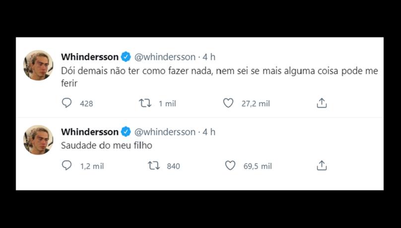 """""""Saudade do meu filho. Dói demais não ter como fazer nada, nem sei se mais alguma coisa pode me ferir"""", declarou Whindersson no Twitter. (Foto: Instagram)"""