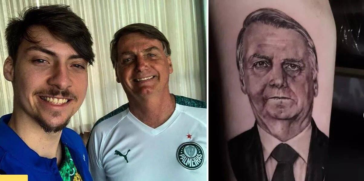 Filho 04 do presidente, Renan Bolsonaro, fez uma homenagem ao pai. Ele tatuou o rosto de Jair Bolsonaro (sem partido) em um dos braços. No desenho, o patriarca surge, usando terno e gravata, com semblante sério. (Fotos: Instagram)