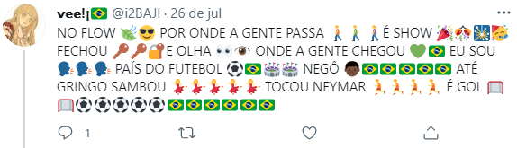 A torcida brasileira se dedica (Foto: Twitter)