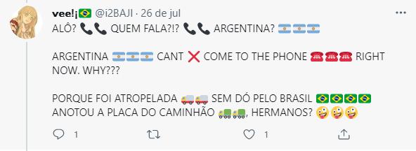 Os textos são diversos e geralmente falam dos atletas ou de times que são grandes rivais do Brasil (Foto: Twitter)