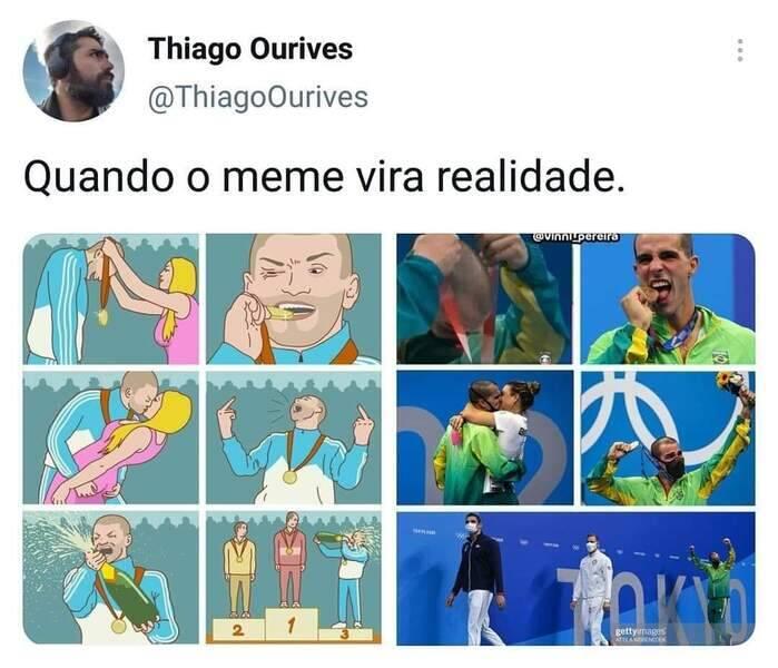 Bruno Fratus literalmente trouxe o meme a vida real ao levar o bronze na natação (Foto: Twitter)