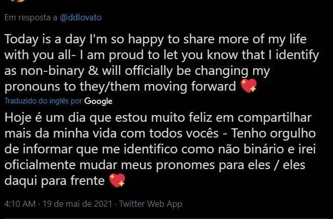 Elu, inclusive, fez o anúncio aos fãs em um tweet postado em maio de 2021. (Foto: Twitter)