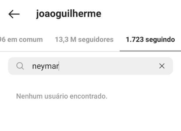 João parou de seguir Neymar. (Foto: Instagram)