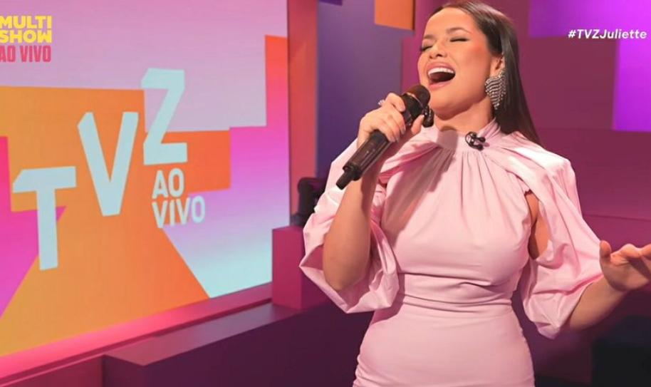 """A grande campeã do BBB21, Juliette Freire, fez a sua estreia como apresentadora do programa """"TVZ"""" na Multishow (Foto: Multishow)"""