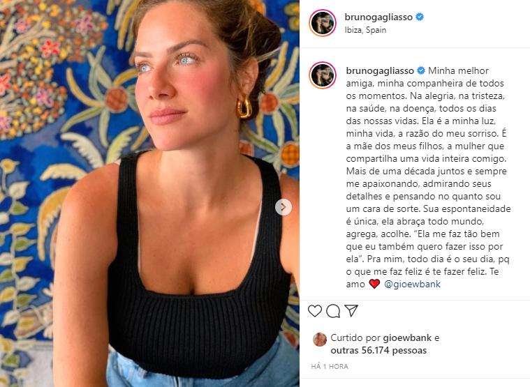 """Bruno Gagliasso fez uma linda declaração para a esposa: """"Minha melhor amiga"""" (Foto: Instagram)"""