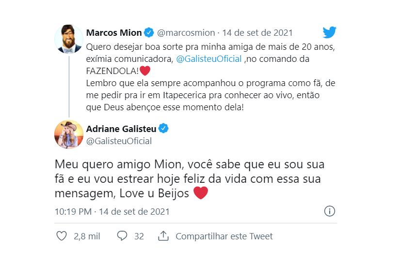 """""""Quero desejar boa sorte pra minha amiga de mais de 20 anos, exímia comunicadora, Adriane Galisteu, no comando da Fazendola!"""", afirmou Marcos Mion. (Foto: Twitter)"""