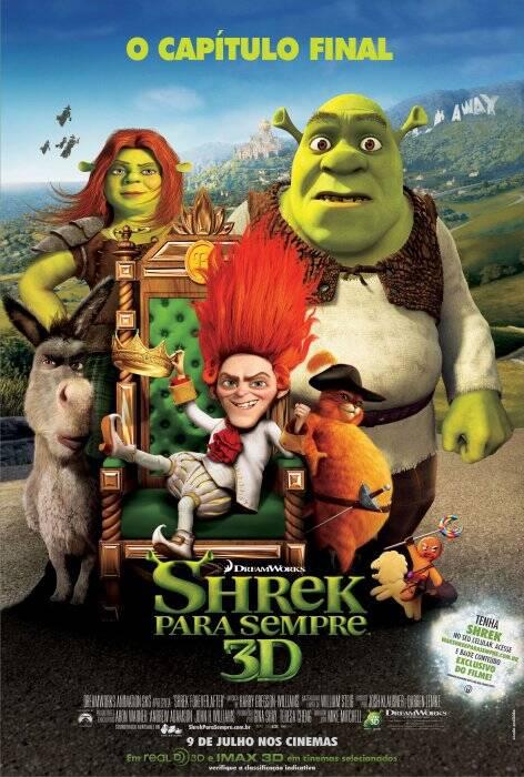 Shrek para Sempre - Há muito tempo ajustado à vida de casado e totalmente domesticado, Shrek fica entediado e começa a ter saudades dos dias em que se sentia um ogro de verdade. Para recuperá-los, ele firma um pacto com Rumpelstiltskin e é levado a um mundo onde ogros são caçados e ele e Fiona nunca se conheceram, além de que seus amigos Burro e Gato de Botas também não o reconhecem. Shrek precisa encontrar um jeito de se livrar do contrato para recuperar sua vida normal e seu grande amor. (Foto: Divulgação)