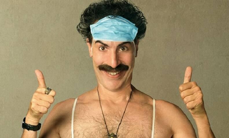 """""""Borat 2: Fita de Cinema Seguinte"""" - O filme é a sequência do grande sucesso """"Borat"""", de 2006. O filme traz o repórter do Cazaquistão de volta aos Estados Unidos, na companhia da filha Tutar, em uma grande aventura repleta de críticas e situações absurdas. (Foto: Divulgação)"""