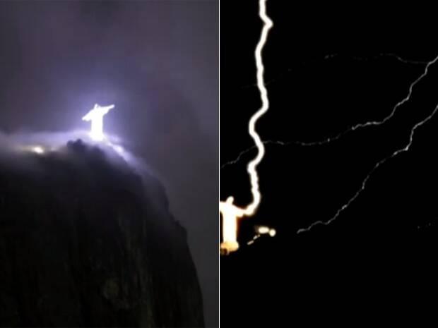 Mas já foi diversas vezes atingido por raios. (Fotos: GloboNews)