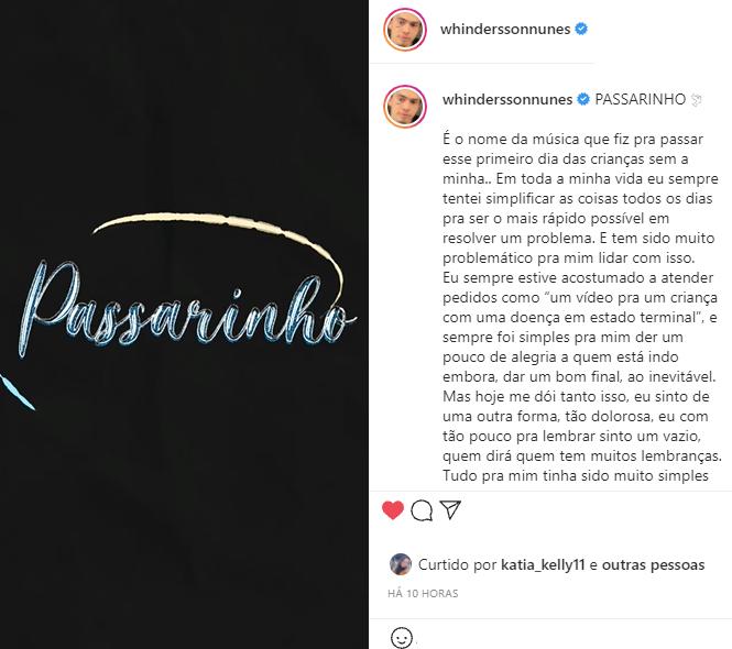 Whindersson Nunes lançou a nova música na madrugada desta terça-feira, 13, e falou sobre a saudade do filho. (Foto: Instagram)